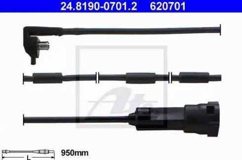 ATE 24.8190-0701.2 - Сигнализатор, износ тормозных колодок www.biturbo.by