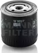 Mann-Filter W 920/7 - Фильтр, Гидравлическая система привода рабочего оборудования www.biturbo.by
